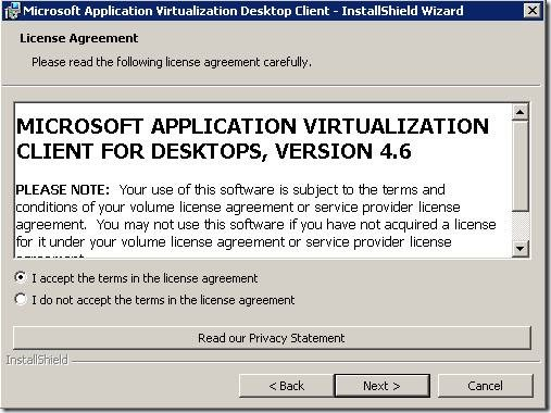 clip image0026 thumb Installation of Microsoft Application Virtualization(4.6) Desktop Client