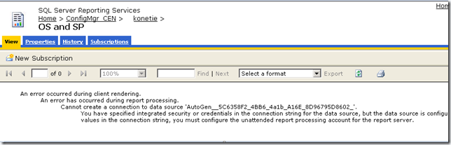 SCCM Configmgr 2007 Reporting services Error 'Cannot create a connection to data source'