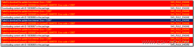 SCCM Configmgr 2012 ADR Software Updates Fail to download updates Error 12007