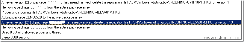 SCCM Package replication issue A newer version of package has already arrived, delete the replication file