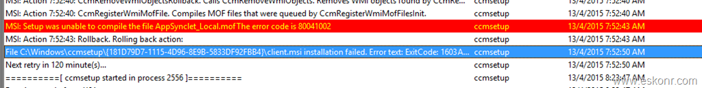 SCCM Configmgr 2012 Client issue Setup was unable to compile the file AppSynclet_Local.mof 80041002