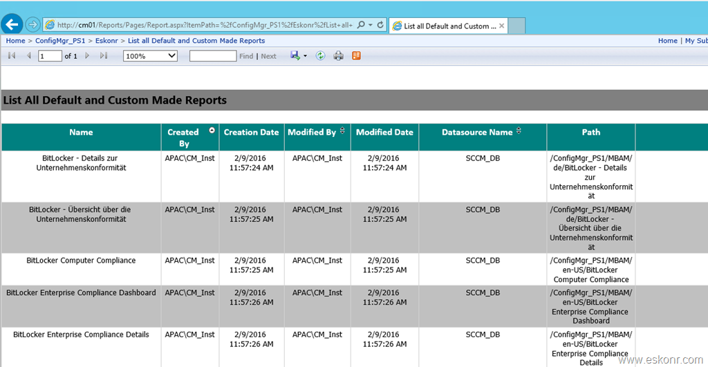 SCCM list all default and Custom reports with created by, modified by, data source , Path