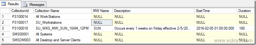 Configmgr SSRS SQL Query How to check Client is member of what collections and its Maintenance Window