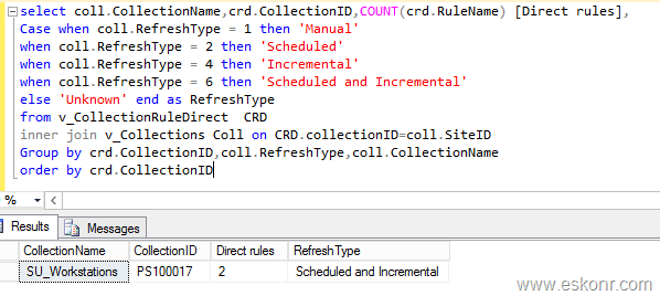 SCCM Configmgr identify count of Direct membership rules ,collection Schedule Refresh Types