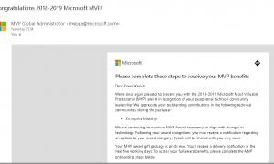 Microsoft MVP Award for 2018-2019 (2nd Time)
