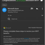Microsoft MVP Award for 2019-2020 (3rd Time)