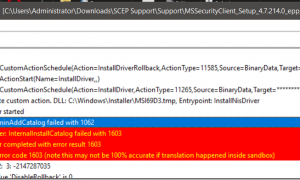 System Center Endpoint Protection (SCEP) Installation Error code 0x8004FF91