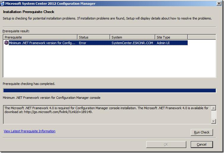 Prerequisites checker for sccm 2012