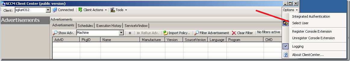 Run as sccm client center tool (Switch Authentication)