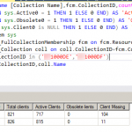 SQL query to get client count with status active obsolete missing for collections in tabular column