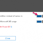 Office 365 Reports Show anonymous IDs instead of names in all reports or Power BI content pack