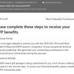 Microsoft MVP Award for 2020-2021 (4th Time)